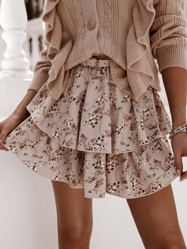 Cream tight midi skirt