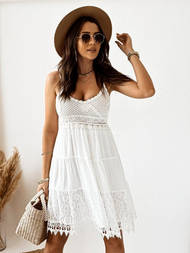 Creamy lace dress with straps