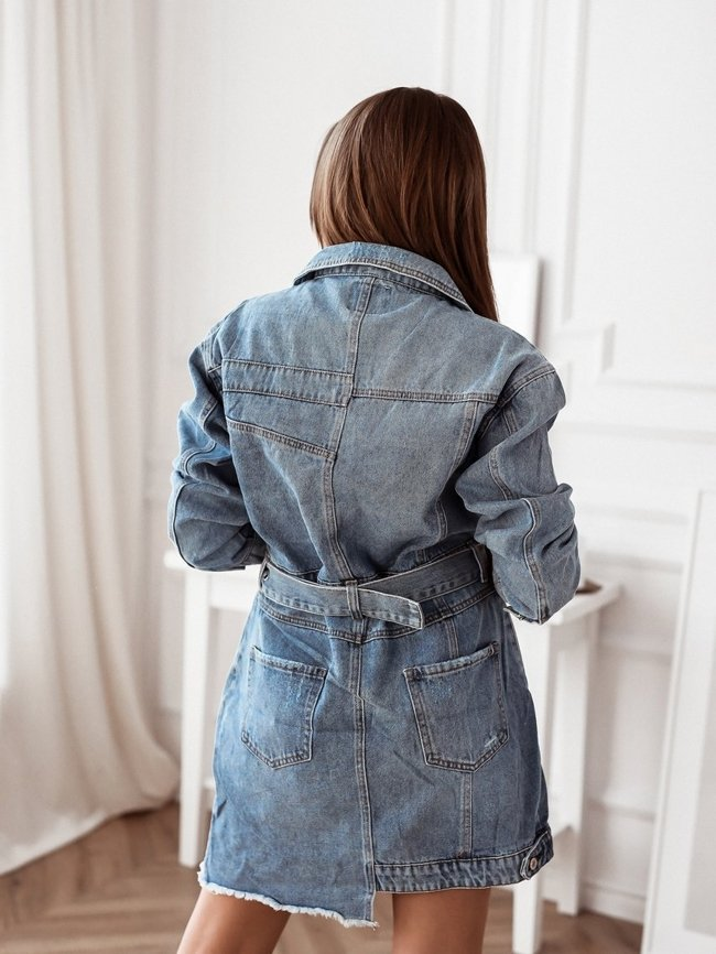 Denim dress with belt and abrasions