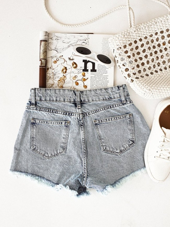 Denim shorts with holes
