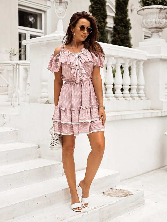 Dress with dots - Dirty pink