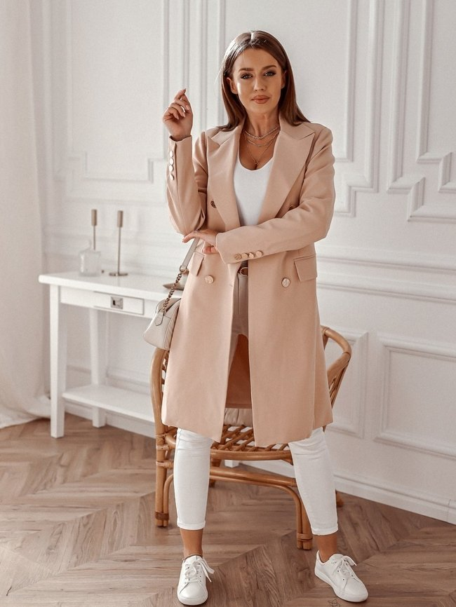 Elegant double-breasted coat - Dirty pink