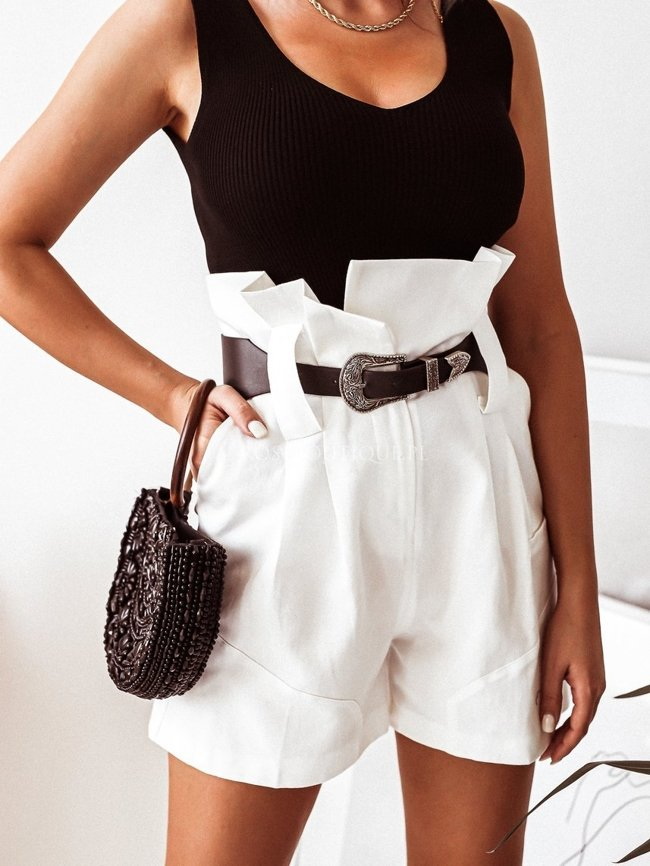 High-waisted white shorts