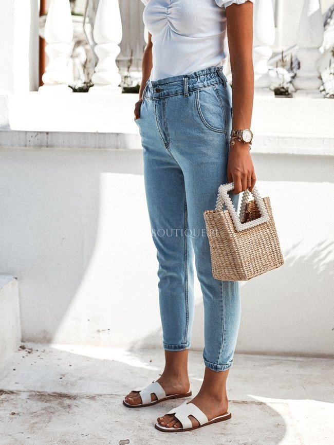 Jeans high-waisted straight pants
