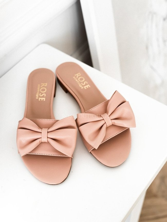 Leather flip-flops with bow - Light pink - Rose Premium