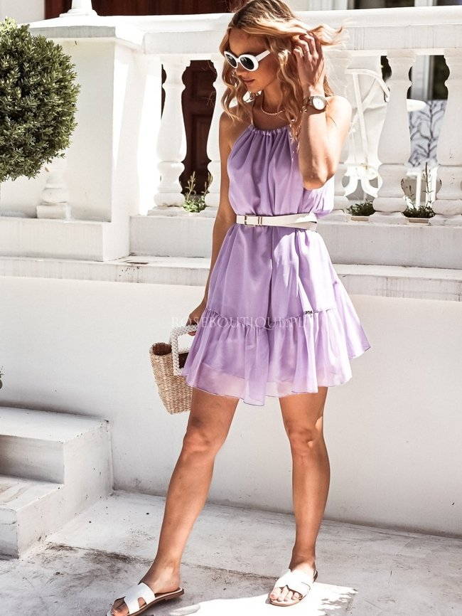 Lilac airy dress with a tie