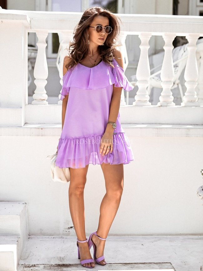 Lilac airy frill dress
