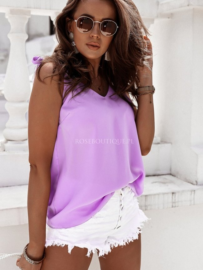 Lilac blouse with tied straps
