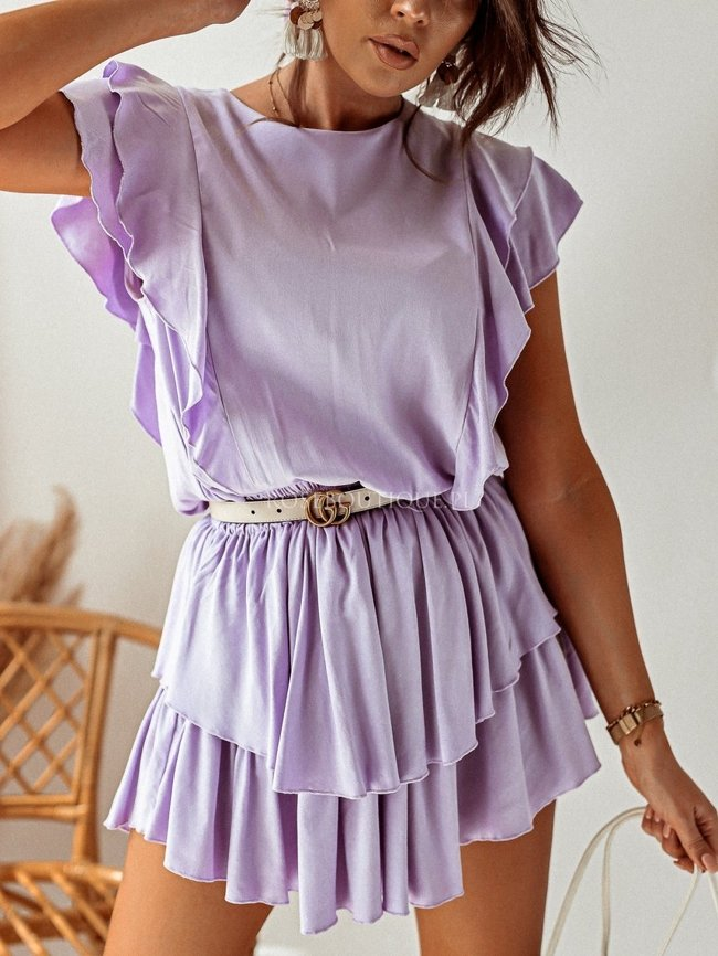 Lilac dress with elastic waist