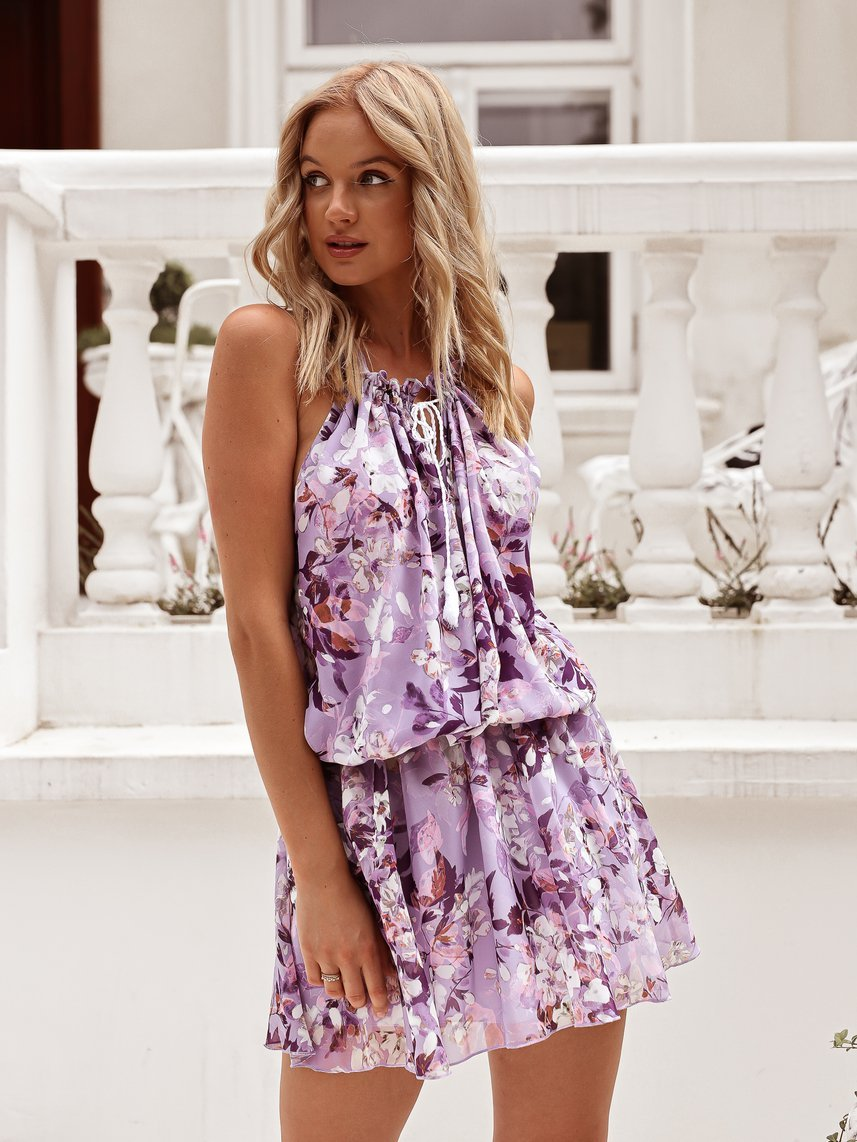 Lilac dress with flowers with binding