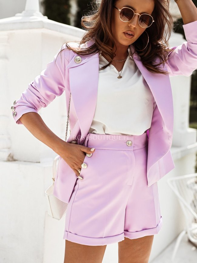 Lilac jacket with gold decorative buttons