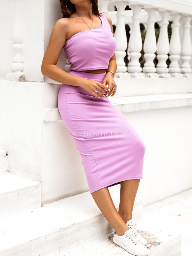 Lilac one-shoulder skirt and top set