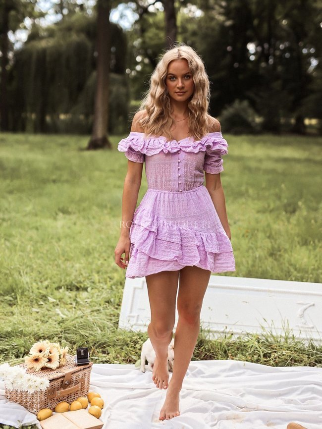 Lilac openwork frill dress with buttons