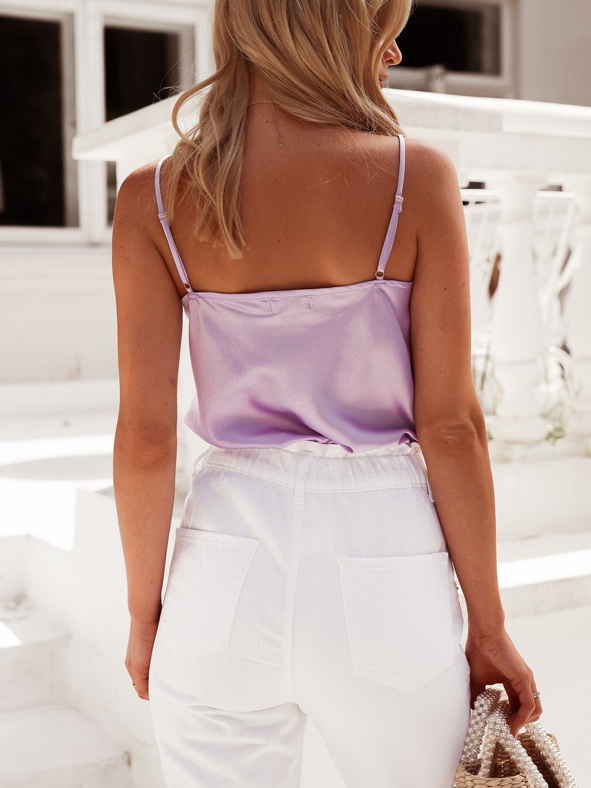 Lilac satin top with straps