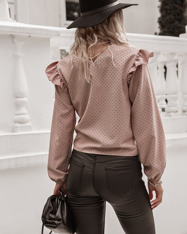 Linen blouse with small dots - Dirty pink