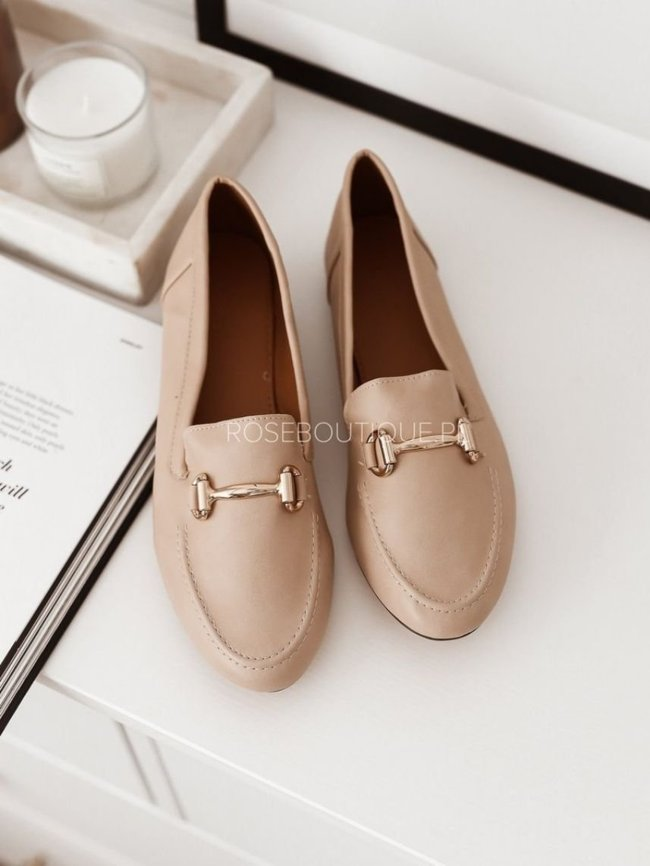 Loafers with gold decoration - Light beige