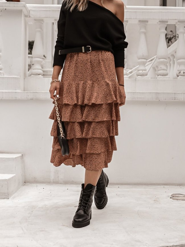Midi skirt with a fine leopard print - Dirty pink