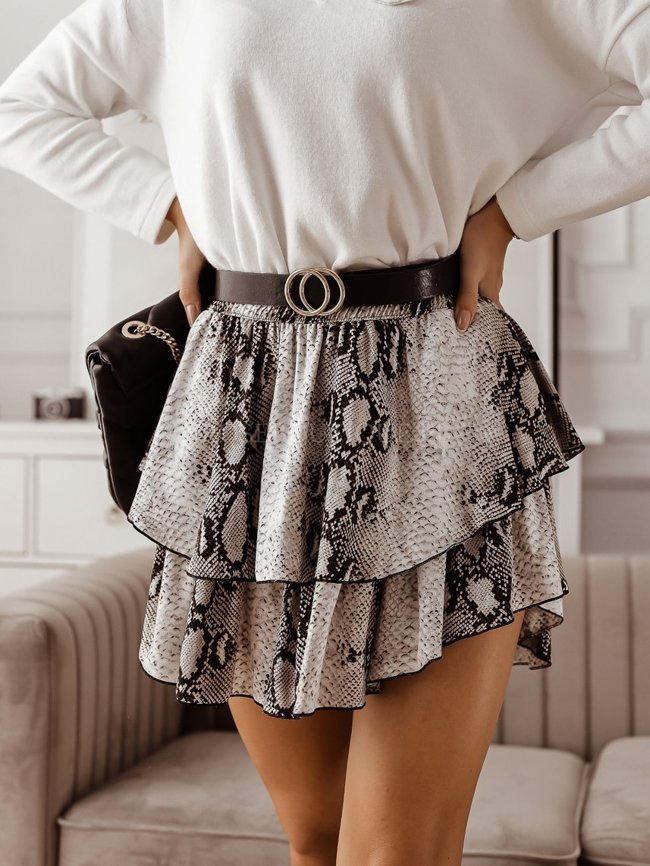 Mini skirt with a snakeskin print