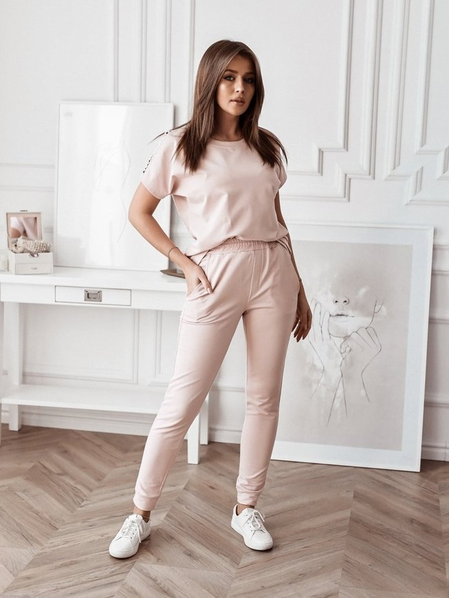 Pink blouse set with openwork decoration and tracksuit