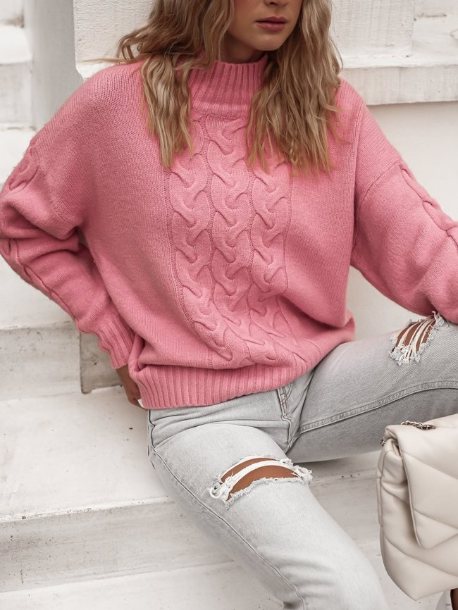 Pink sweater with a triple braid