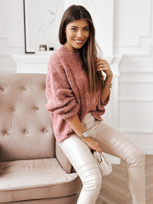 Pink sweater with decorative embossing