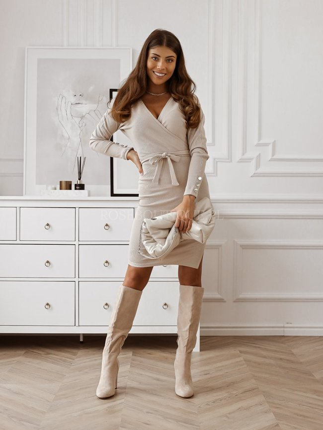 Pleated dress with long sleeves - Light beige
