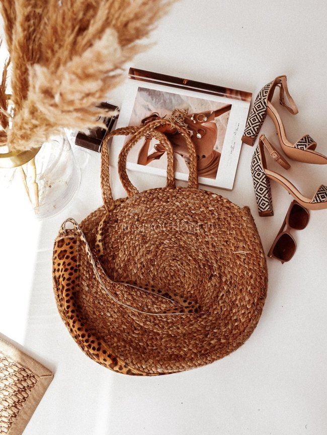 Purse basket with leopard print - Straw