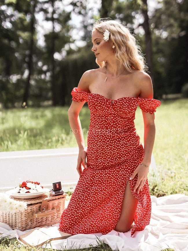 Red midi dress with white flowers