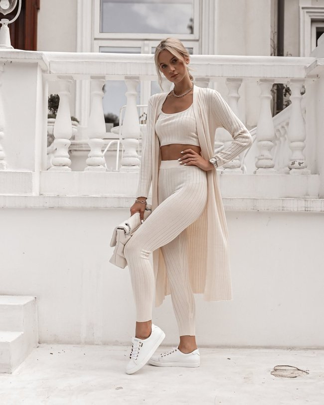 Set of cardigan, top and pants - Light beige