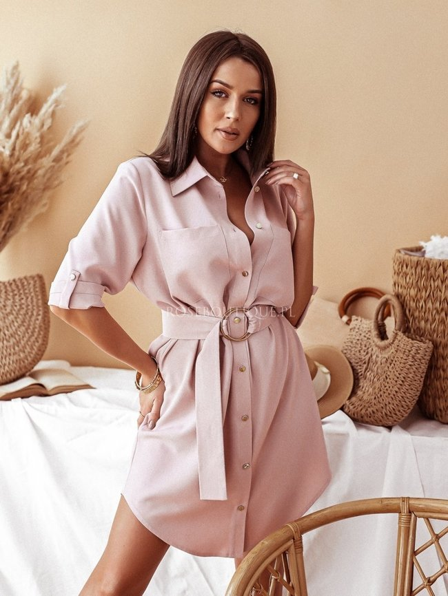 Shirt dress with belt - Dirty pink