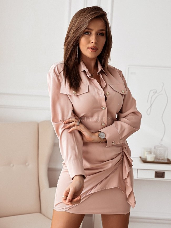 Shirt dress with shirring - Dirty pink