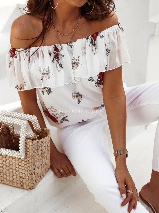 Spanish blouse By Rose - White with flowers