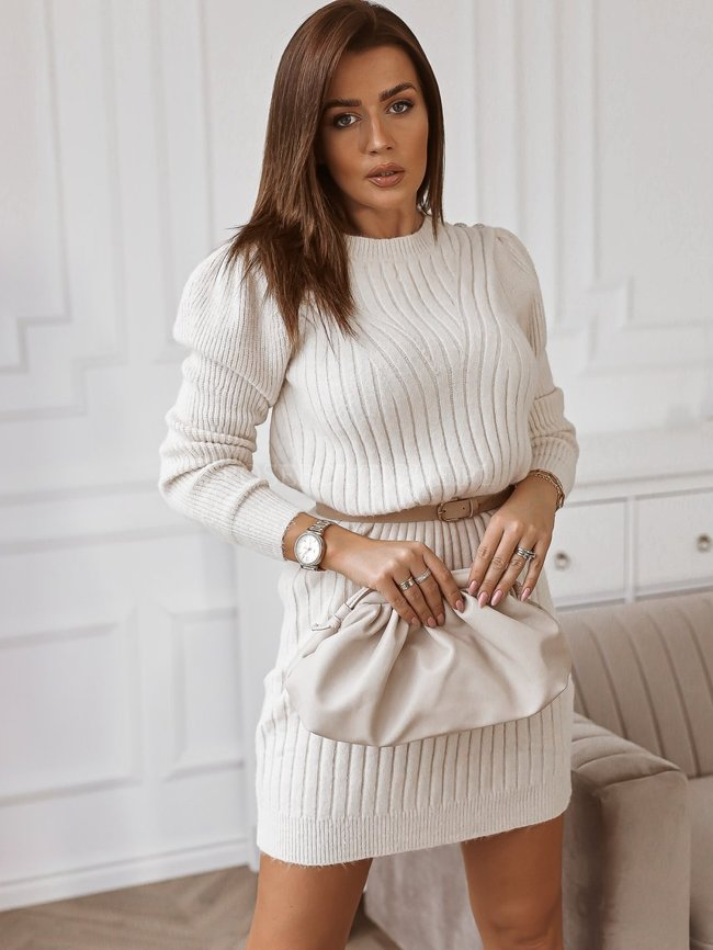 Sweater dress with decorative buttons - Light beige