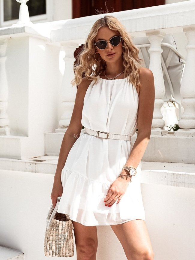 White airy dress with a tie