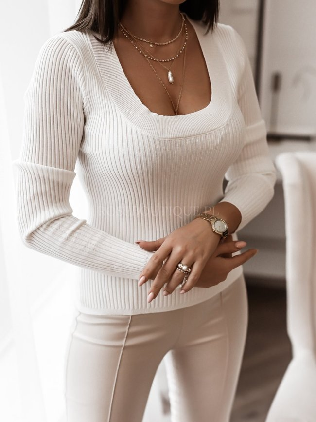 White blouse with a round neckline