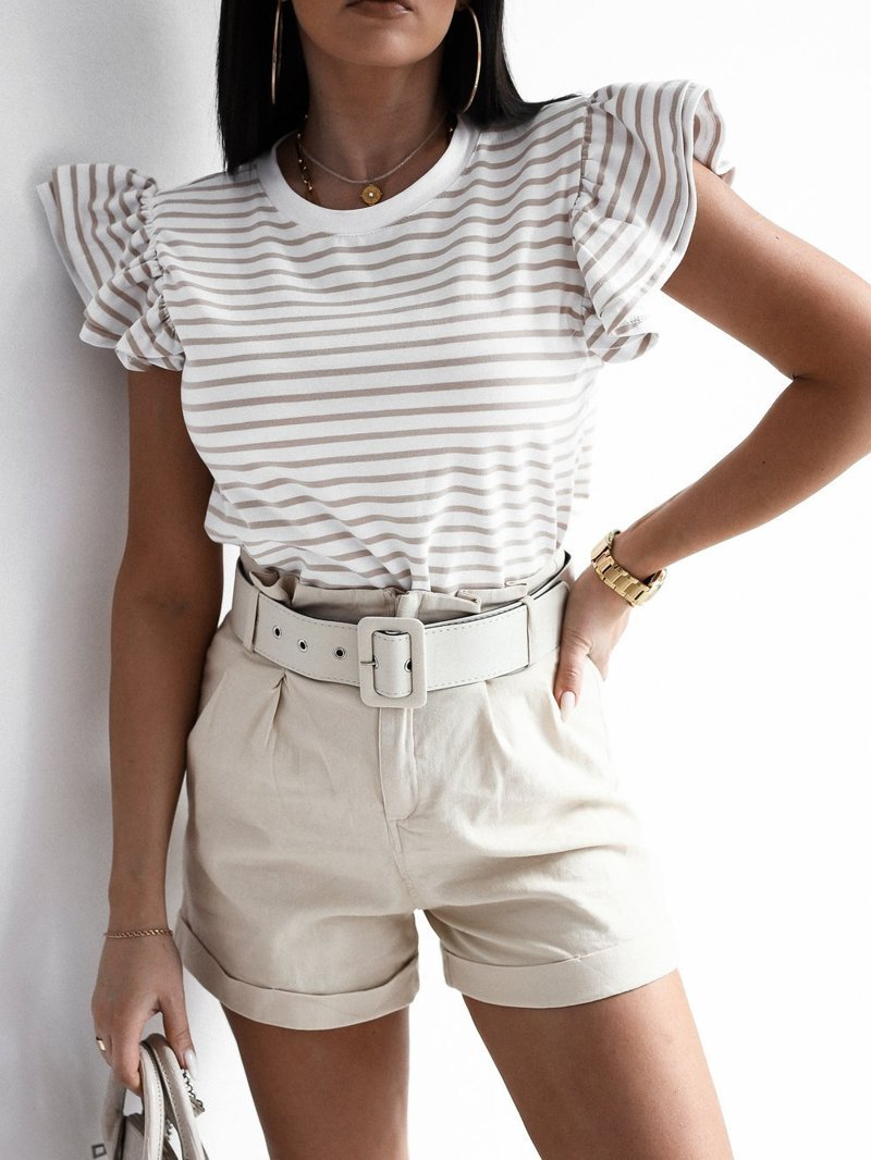 White blouse with beige stripes