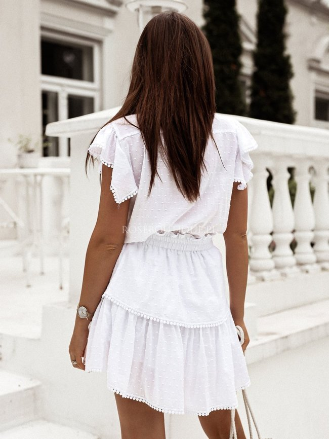 White cotton skirt and blouse set