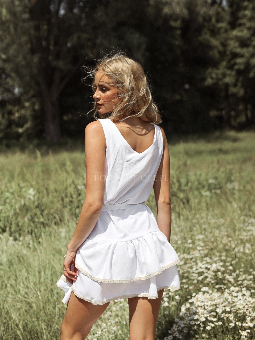 White dress with a double frill