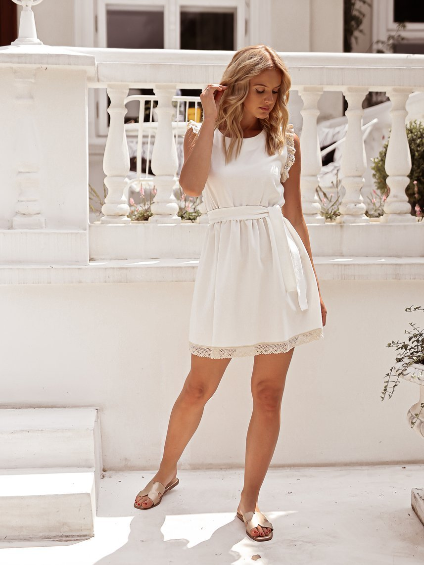 White dress with cream lace