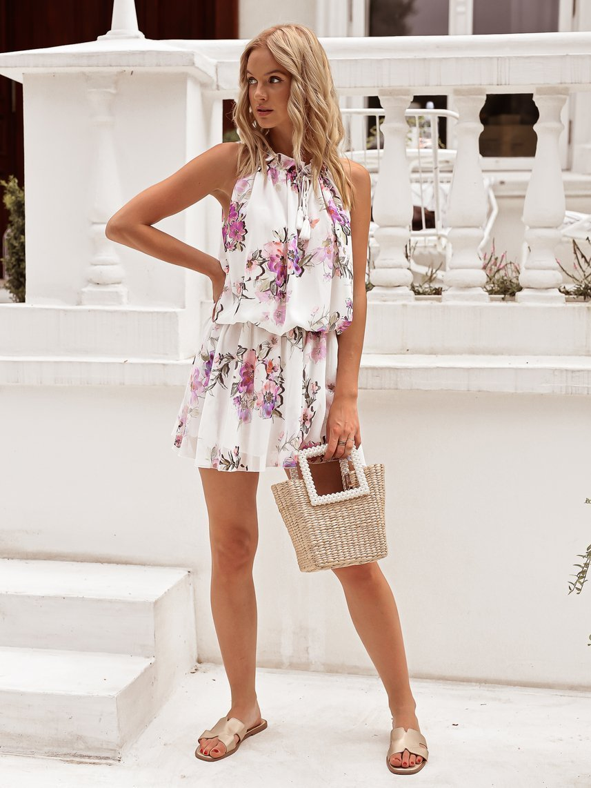 White dress with flowers with binding