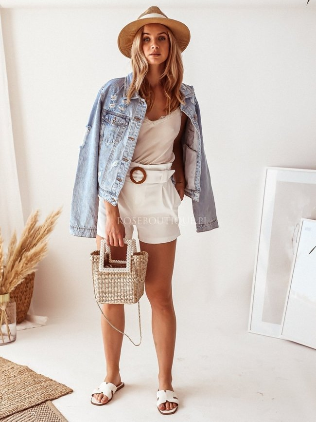 White fabric shorts with a belt