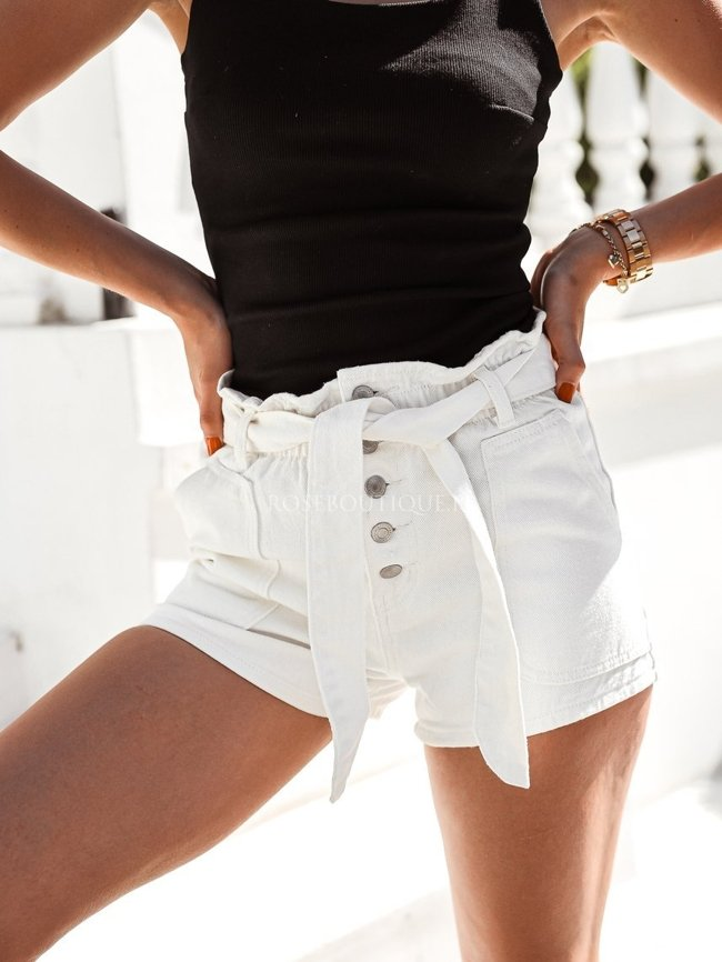 White high-waisted denim shorts