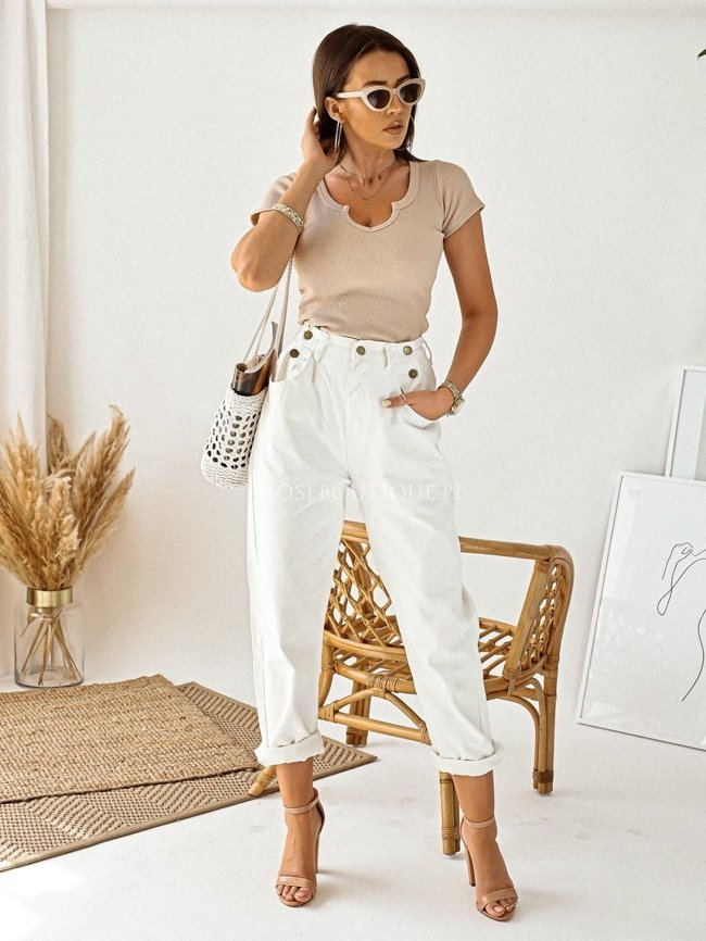 White jeans with wide legs