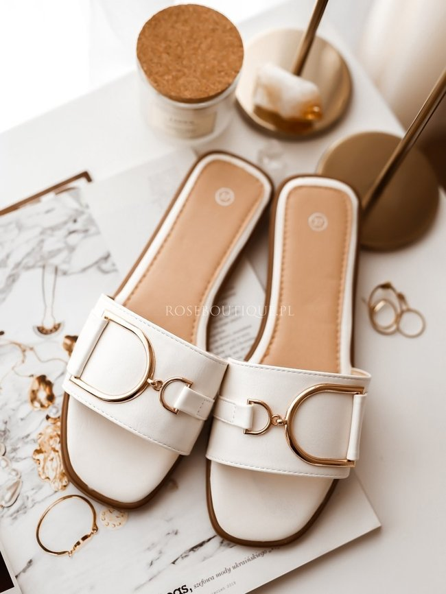 White leather flip-flops with golden decoration