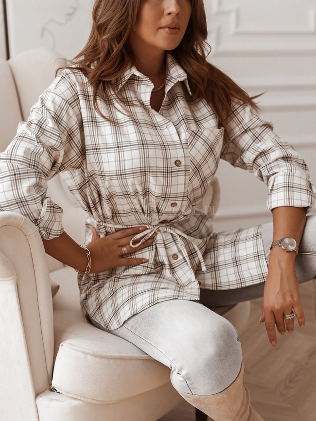 White long checked shirt