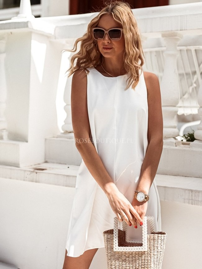 White loose boat dress