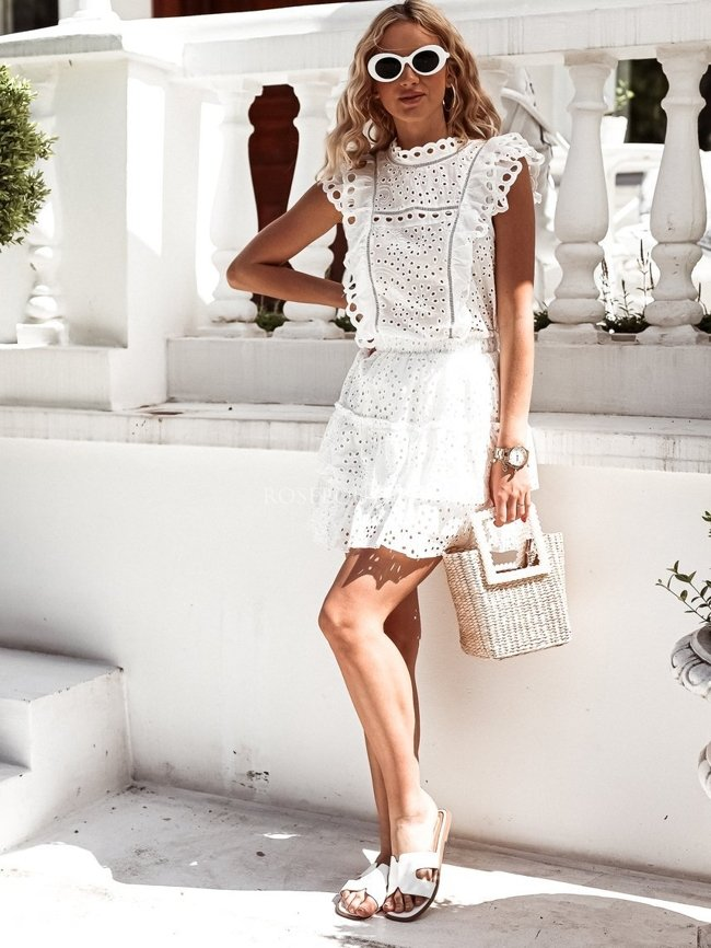 White openwork blouse with a double frill