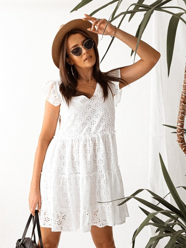 White openwork dress with a V-neck