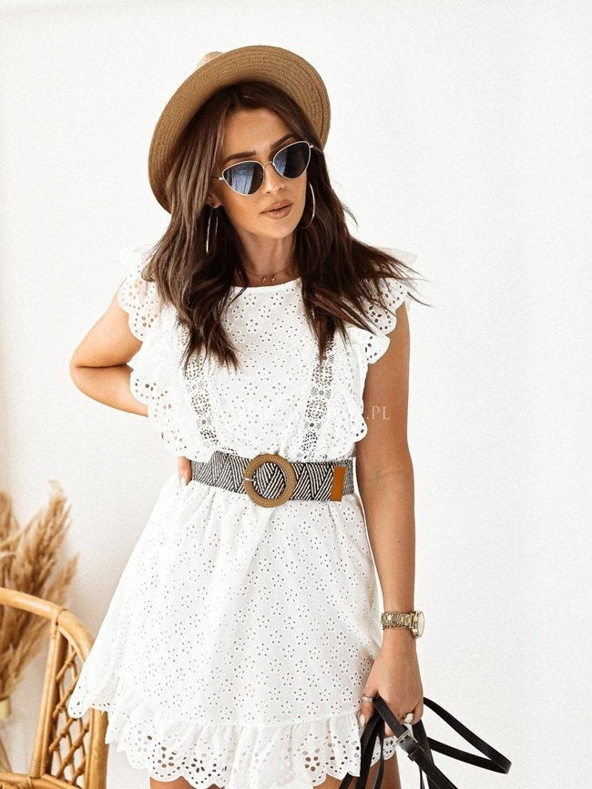 White openwork dress with a belt