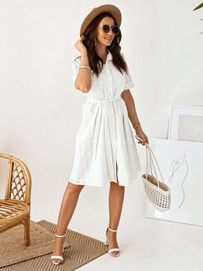 White openwork dress with a collar